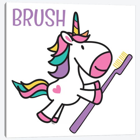 Happy Unicorn Brush Canvas Print #TRE12} by Tara Reed Canvas Art Print
