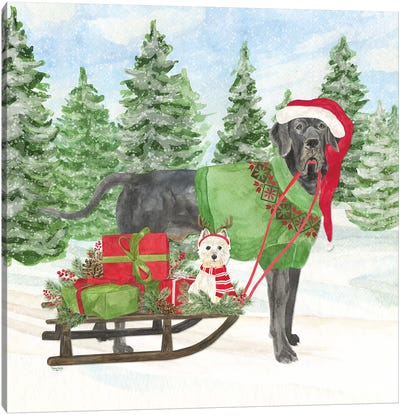 Dog Days Of Christmas II - Sled with Gifts Canvas Art Print
