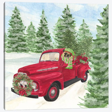 Dog Days Of Christmas IV - Truck Canvas Print #TRE132} by Tara Reed Canvas Wall Art