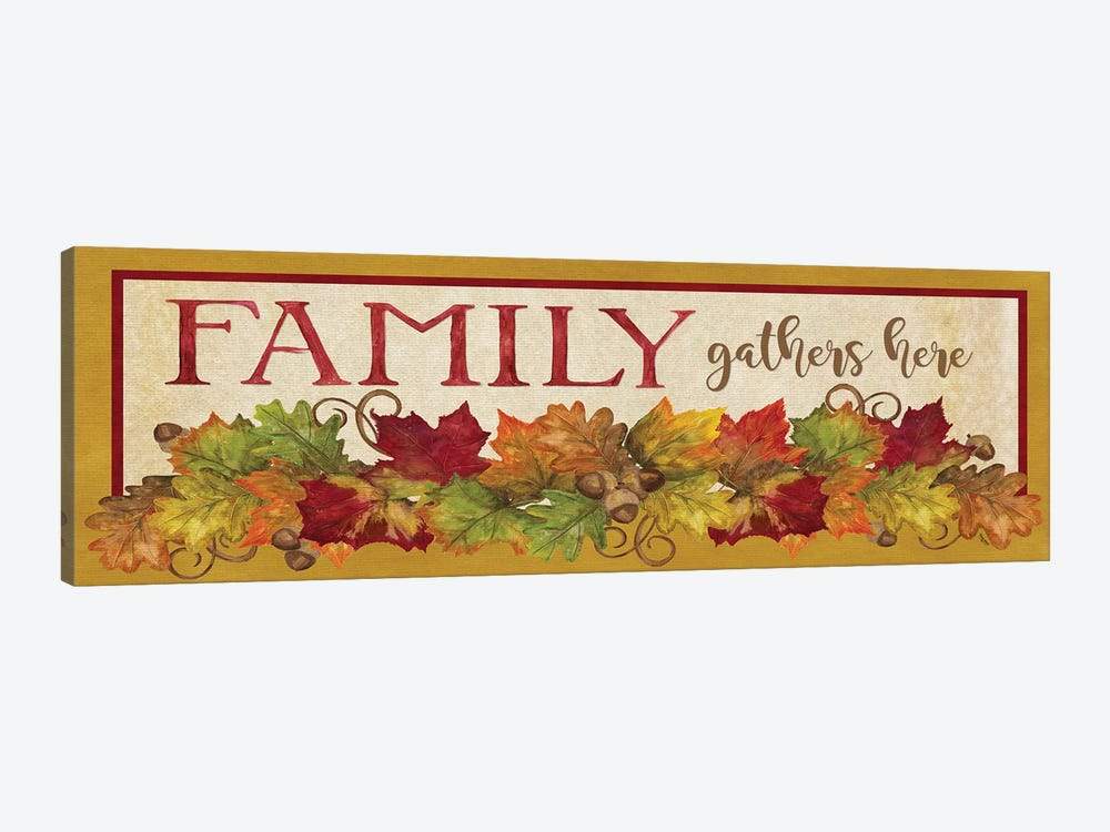 Fall Harvest Family Gathers Here Sign by Tara Reed 1-piece Art Print