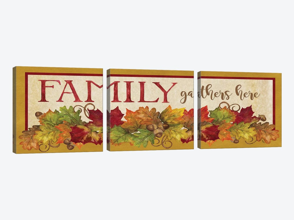 Fall Harvest Family Gathers Here Sign by Tara Reed 3-piece Canvas Print