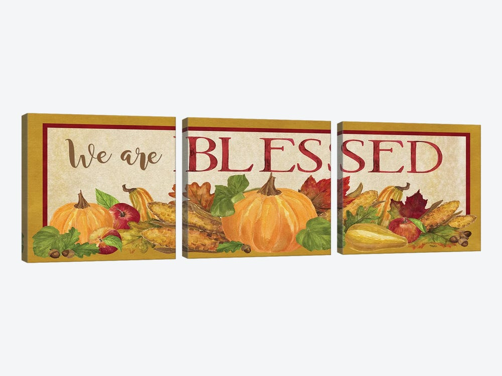 Fall Harvest We are Blessed Sign by Tara Reed 3-piece Canvas Print
