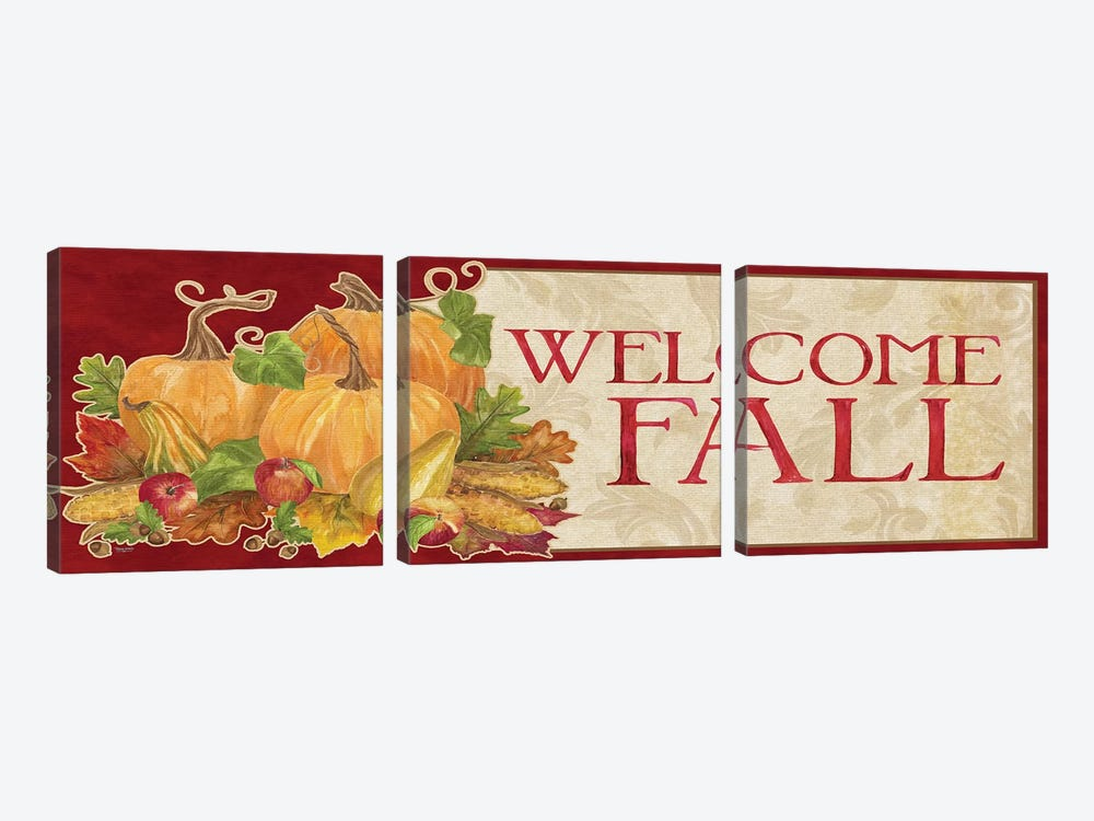 Fall Harvest Welcome Fall Sign by Tara Reed 3-piece Canvas Wall Art