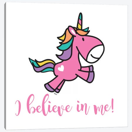 Happy Unicorn I Canvas Print #TRE13} by Tara Reed Canvas Art Print