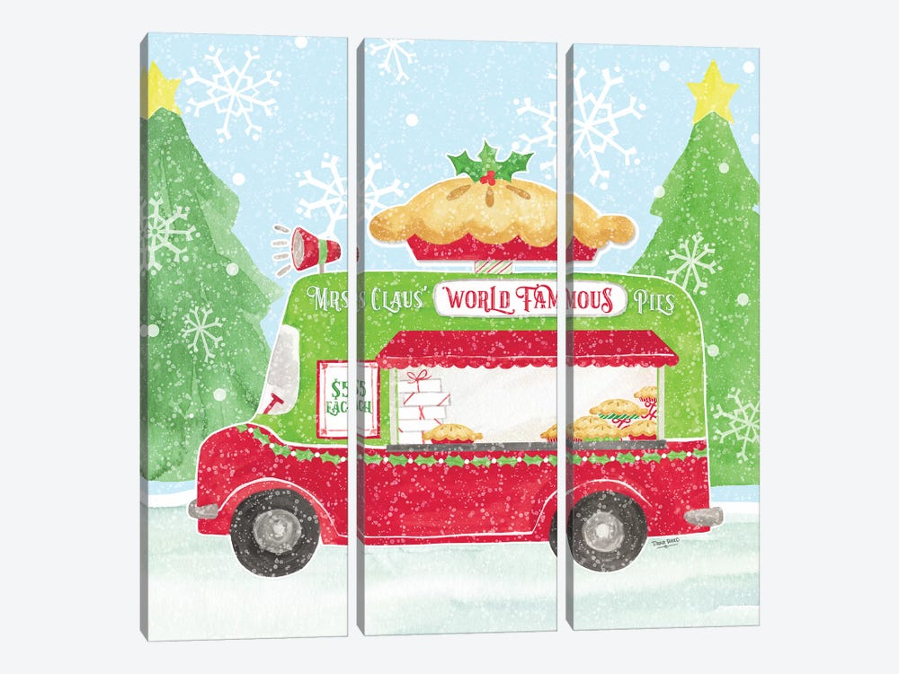 Food Cart Christmas III - Mrs Clause Pies by Tara Reed 3-piece Canvas Art Print