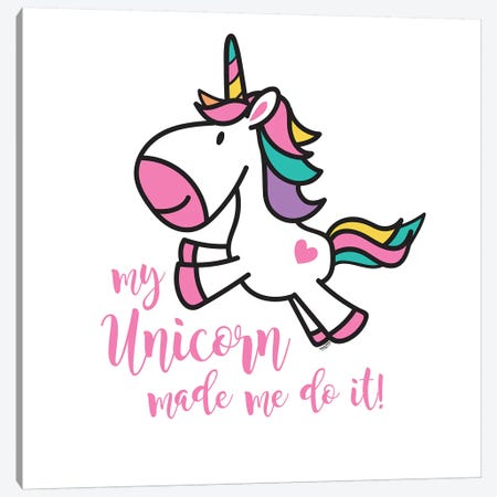 Happy Unicorn II Canvas Print #TRE14} by Tara Reed Canvas Art
