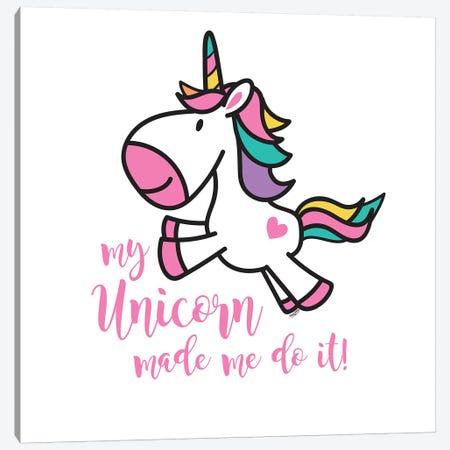 Happy Unicorn II Canvas Print #TRE14} by Tara Reed Canvas Art