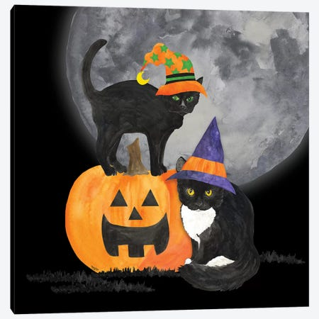 Fright Night Friends I - Black Cat Canvas Print #TRE150} by Tara Reed Canvas Art