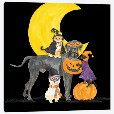 Fright Night Friends II - Dog with Pumpkin Canvas Print #TRE151} by Tara Reed Canvas Artwork