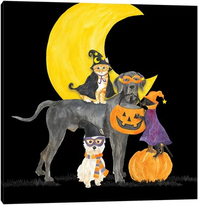 Fright Night Friends II - Dog with Pumpkin Canvas Art Print