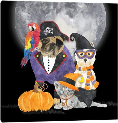 Fright Night Friends III - Pirate Pug Canvas Art Print