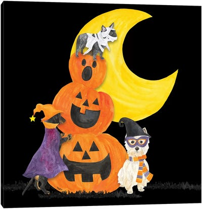 Fright Night Friends IV - Pumpkin Stack Canvas Art Print