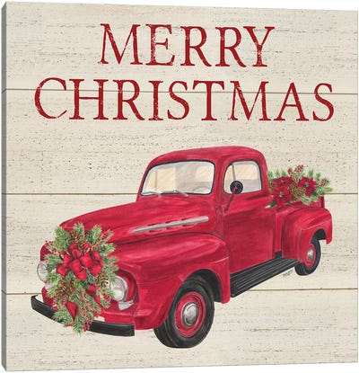 Home for the Holidays - Red Truck Canvas Art Print