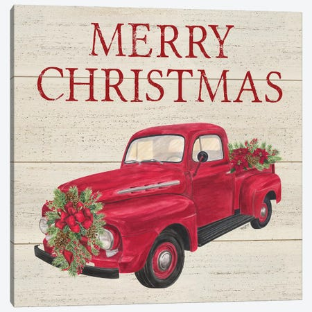 Home for the Holidays - Red Truck Canvas Print #TRE155} by Tara Reed Art Print