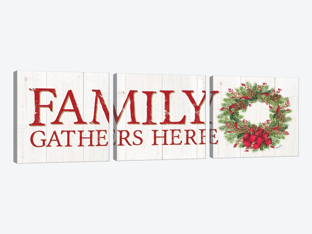 Home for the Holidays - Family Gathers Here Wreath Sign by Tara Reed 3-piece Canvas Art