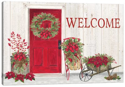 Home for the Holidays - Front Door Scene  Canvas Art Print