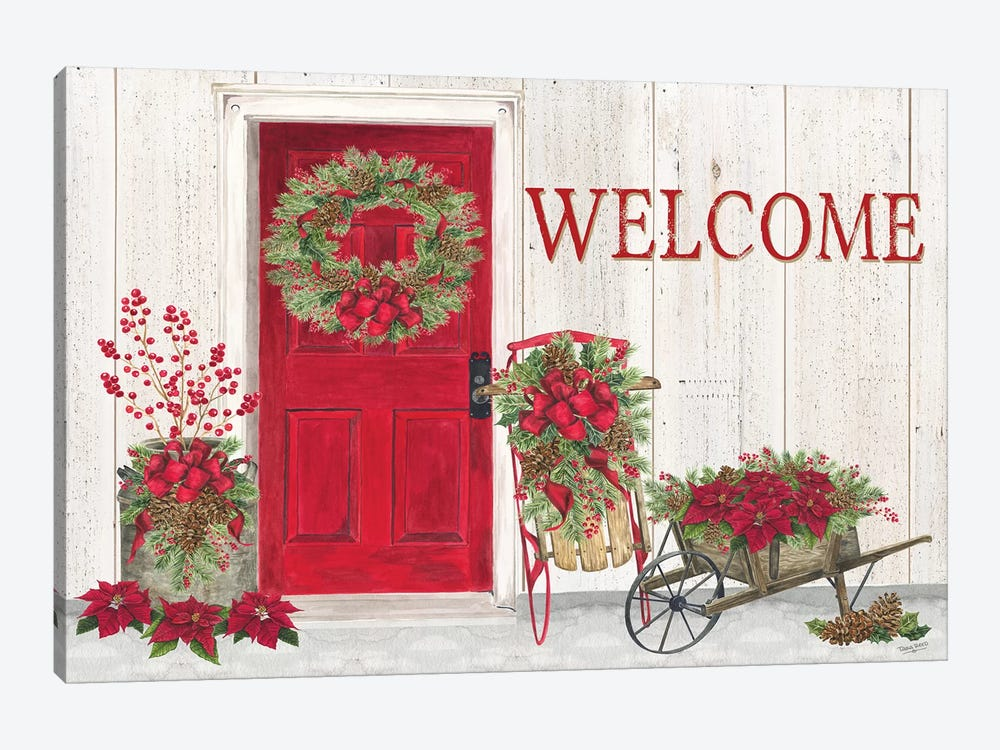 Home for the Holidays - Front Door Scene  by Tara Reed 1-piece Art Print