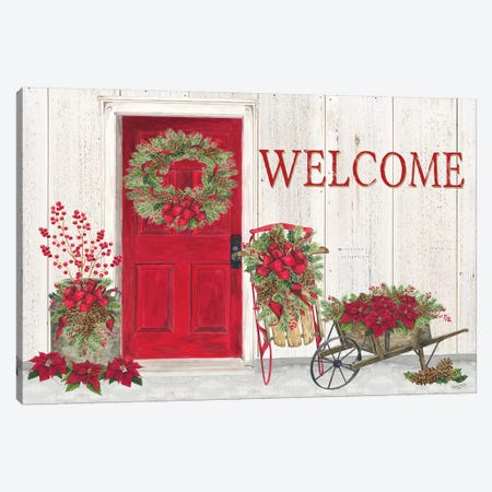 Home for the Holidays - Front Door Scene  Canvas Print #TRE157} by Tara Reed Art Print