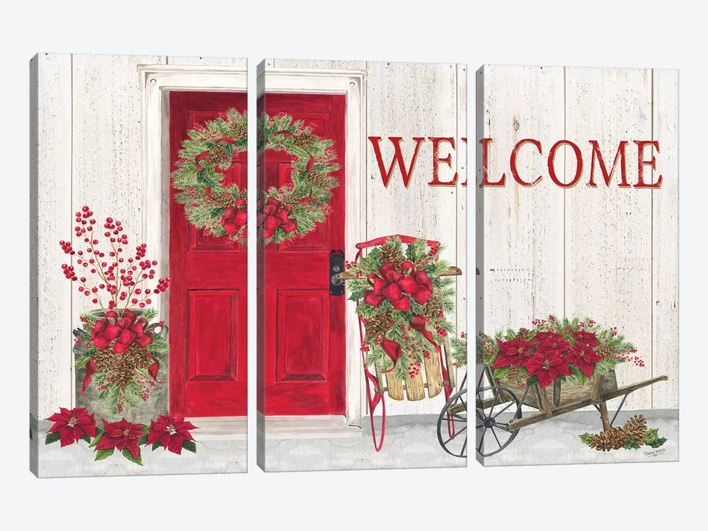 Home for the Holidays - Front Door Scene  by Tara Reed 3-piece Canvas Art Print