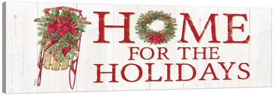 Home for the Holidays - Sled Sign Canvas Art Print