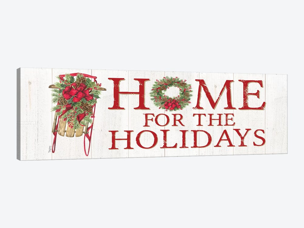 Home for the Holidays - Sled Sign by Tara Reed 1-piece Canvas Wall Art