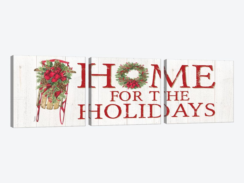 Home for the Holidays - Sled Sign by Tara Reed 3-piece Canvas Artwork