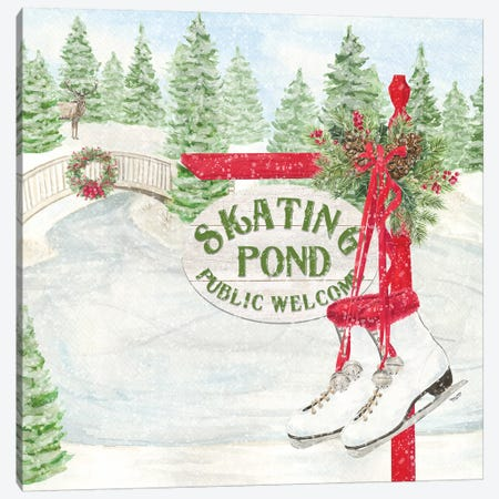 Sleigh Bells Ring I Skating Pond Canvas Print #TRE173} by Tara Reed Canvas Wall Art