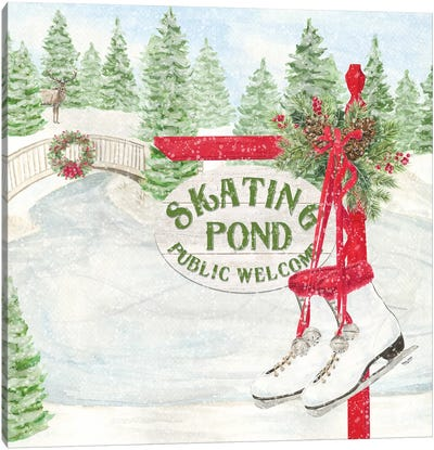 Sleigh Bells Ring I Skating Pond Canvas Art Print
