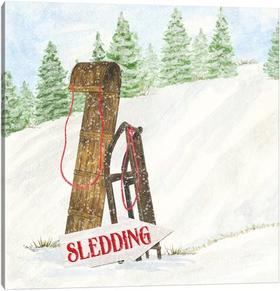 Sleigh Bells Ring II Sledding Canvas Art Print
