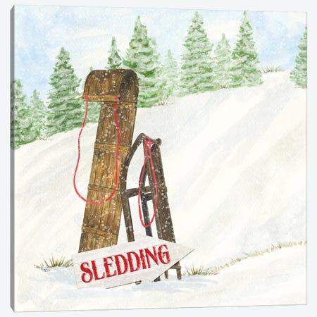 Sleigh Bells Ring II Sledding Canvas Print #TRE174} by Tara Reed Canvas Print