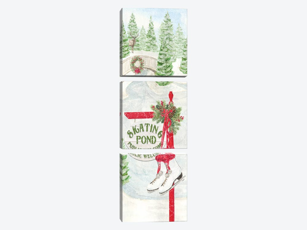 Sleigh Bells Ring panel II - Tree Day by Tara Reed 3-piece Canvas Wall Art