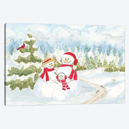Snowman Wonderland - Family Scene Canvas Print #TRE180} by Tara Reed Art Print