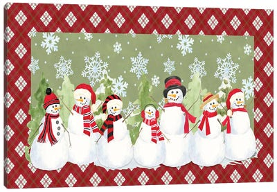 Snowman Wonderland - Green Plaid Canvas Art Print