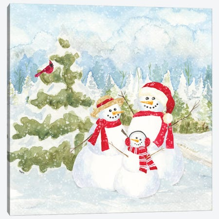 Snowman Wonderland I Family Scene Canvas Print #TRE184} by Tara Reed Canvas Artwork