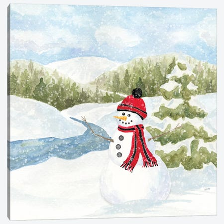 Snowman Wonderland III - Stream Scene Canvas Print #TRE186} by Tara Reed Canvas Art