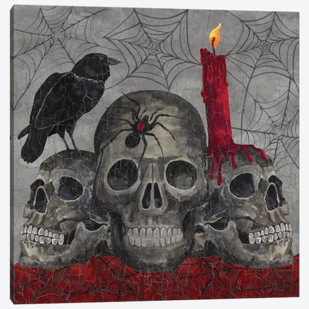 Something Wicked - 3 Skulls Canvas Print #TRE187} by Tara Reed Canvas Wall Art