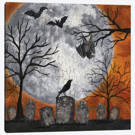 Something Wicked Graveyard I - Hanging Bat Canvas Print #TRE189} by Tara Reed Canvas Print