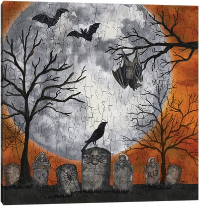 Something Wicked Graveyard I - Hanging Bat Canvas Art Print