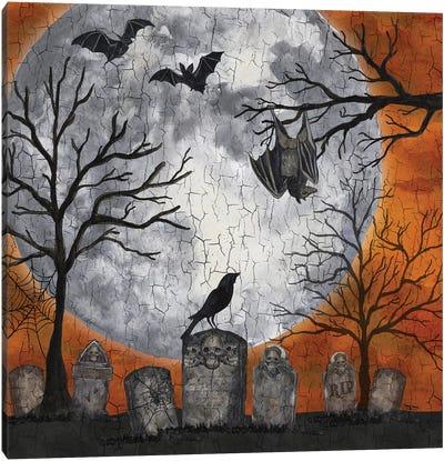Something Wicked Graveyard I - Hanging Bat Canvas Art Print