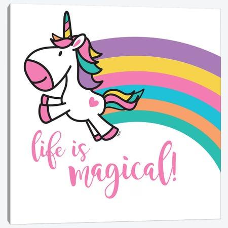 Happy Unicorn Rainbow II Canvas Print #TRE18} by Tara Reed Canvas Print
