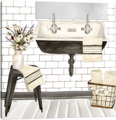 Farmhouse Bath II Sink Canvas Art Print