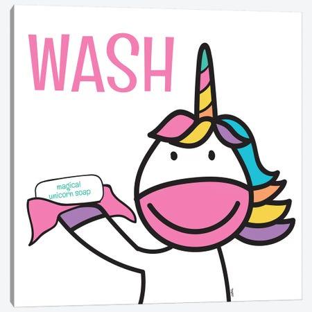 Happy Unicorn Wash 3-Piece Canvas #TRE19} by Tara Reed Canvas Print