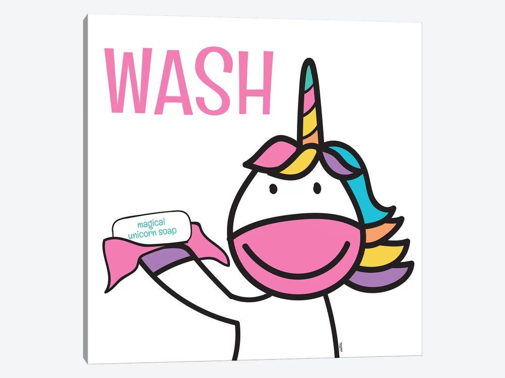 Happy Unicorn Wash by Tara Reed 1-piece Canvas Art