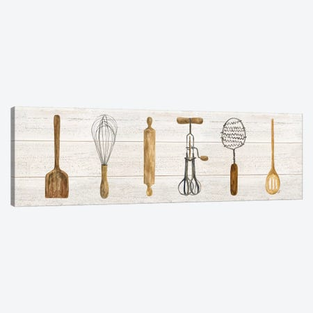 Vintage Kitchen Utensils Panel Canvas Print #TRE208} by Tara Reed Canvas Wall Art
