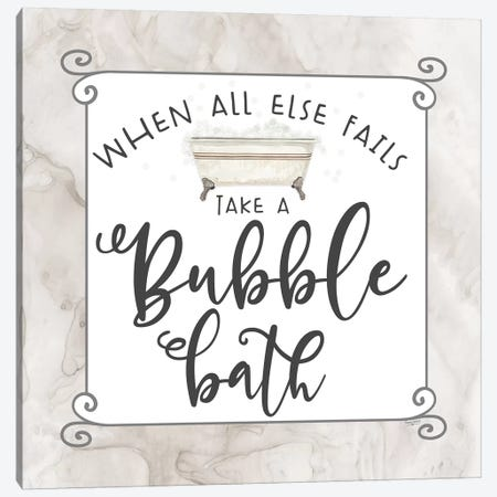 Bath Humor Bubble Bath Canvas Print #TRE209} by Tara Reed Canvas Wall Art