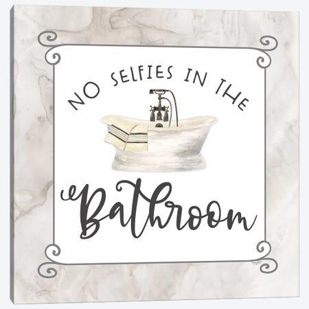 Bath Humor No Selfies Canvas Print #TRE211} by Tara Reed Canvas Art Print