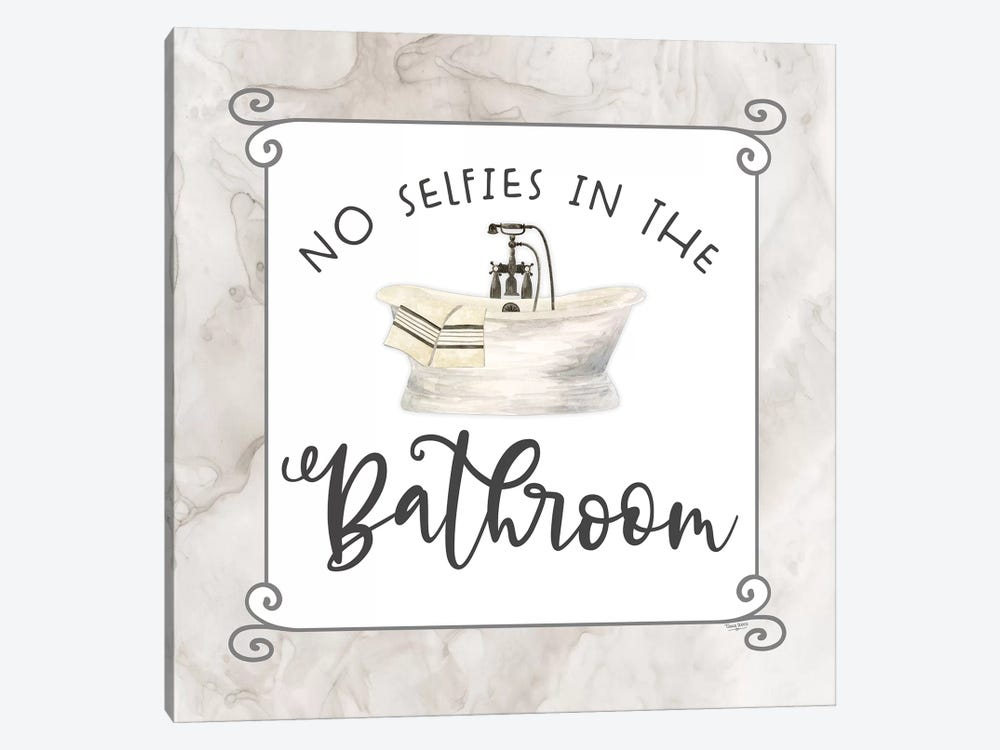 Bath Humor No Selfies by Tara Reed 1-piece Canvas Art Print