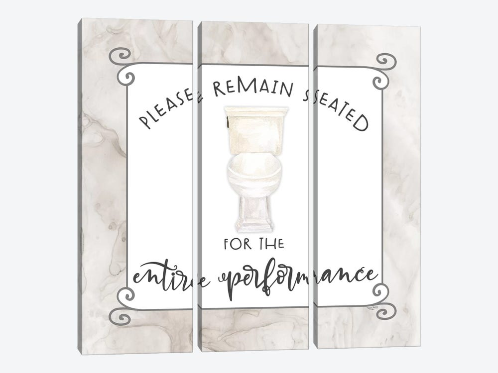 Bath Humor Remain Seated by Tara Reed 3-piece Canvas Artwork