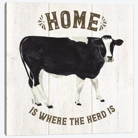 Farm Life Cow Home Herd Canvas Print #TRE218} by Tara Reed Art Print