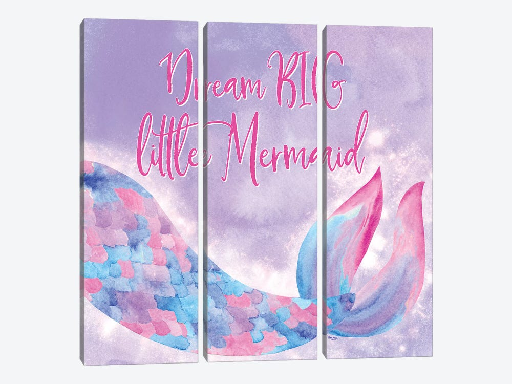 Mermaid Life I Pink/Purple by Tara Reed 3-piece Art Print